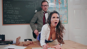 Busty Roxxy Lea teach nerdy Freddy how to fuck girls.