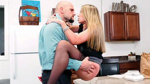 Naughty office babe Kimber Lee fucking with her coworker JMac.