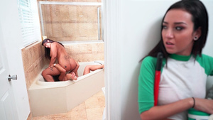 Lesbians Spicy J, Victoria Banxxx and Kiley Jay double spanking fun in the bathroom!