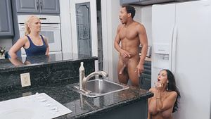 Busty mom Ava Addams catched with cum on face with daughter's BF in the kitchen!