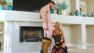 Naughty wife Tasha Reign in sexy lingerie seduced handyman while husband's out of town!