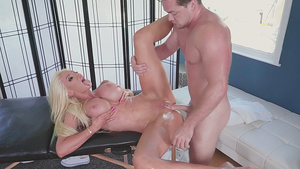 Super busty MILF Nicolette Shea fucked on massage table in her shaved twat!