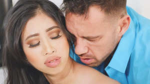 Hot asian babe Jade Kush teasing her boyfriend's buddy Johnny in bathroom!