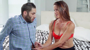 Brunette hot stepmom Sofie Marie - mom seducing her stepson Damon Dice!