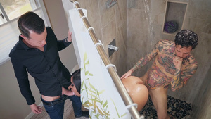 Double fucking wife Aryana Adin in the bathroom!