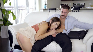 Slutty babe Blair Williams is sucking her daddy's cock in short porn videos!