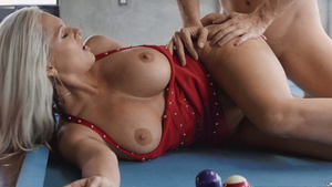 Big assed busty MILF Alena Croft fucked on the pool table!