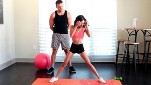 Small teen girl Jasmine Grey seduced her trainer!