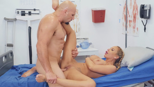 Patients fucks busty nurse Olivia Austin and cums on her huge tits and mouth!