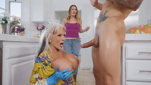 I fuck my GF's mom Sally D'Angelo and cums on her huge tits!