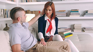 Schoolgirl seduce the tutor - Scarlett Mae sucking cock!