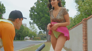 Public upskirts lover gets blowjob from his sexy victim Bella Rolland!