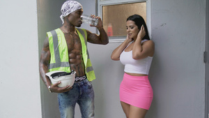 Pornstar latina Rose Monroe blowjob big black dick of Construction Worker