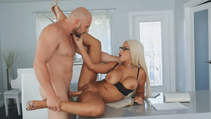 Spanish milf with giant tits Bridgette B fucked on the table!