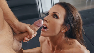 Lusty mom Shay Sights gets big sperm portion in mouth!
