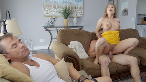 Stepmom Britney Amber fucks with son while her husband is sleeping.