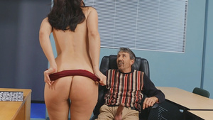 Sexy new teacher Bella Rolland fucks with old man on campus!