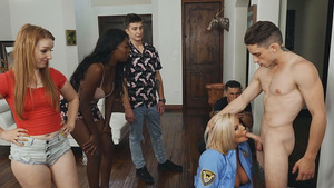 Teen Chris Rail gets blowjob from fake police woman Julie Cash!