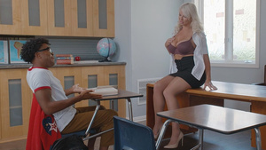 Teacher London River lets black student lick her white pussy free videos porn