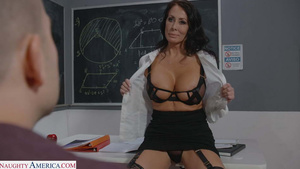 Sexy teacher Reagan Foxx fucked by her student in classroom new porn tubes,