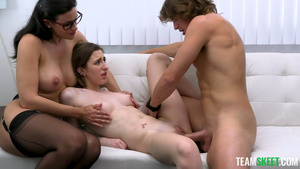Sex therapist Dr. Penny Barber teaching stepsiblings fuck: Tristan Summers and Jay!